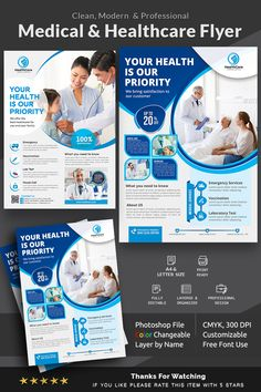 This Medical Healthcare Flyer Template is perfectly suitable for promoting your Business. You can also use this template in multipurpose advertising purpose. Medical Brochure, Business Brochure, Business Flyer, Medical Health Care, Home Health Care, Corporate Flyer, Corporate Identity, Magazine Ideas, Dental