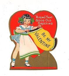 Vintage Single Layer Valentine Greeting Card ~ Girl Shaking Rug