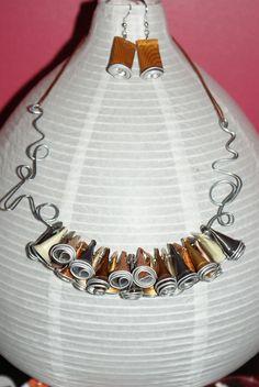 Parure en capsules de café nespresso collier et boucles d'oreille