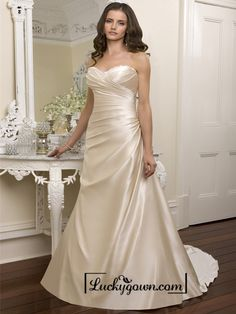 Elegant Beaded Sweetheart Cross Bodice Wedding Dresses Featured Beaded Cutout Back
