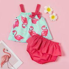 Baby / Toddler Pretty Flamingo Print Strappy Top and Layered Shorts Set Baby Dress Patterns, Baby Clothes Patterns, Cute Baby Clothes, Girls Frock Design, Baby Dress Design, Baby Girl Fashion, Kids Fashion, Baby Frocks Designs, Cute Baby Videos
