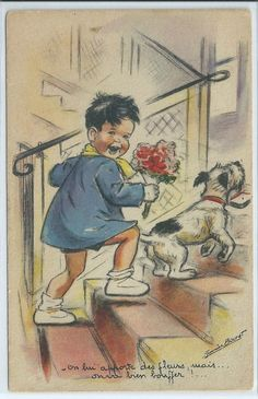 "CPA GERMAINE BOURET ""On lui apporte des fleurs, mais on va bien bouffer."" | eBay"