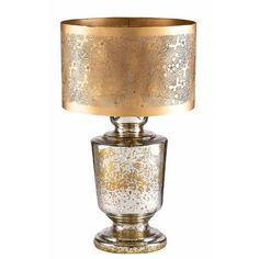 Gold mercury glass lamp stamped shade*