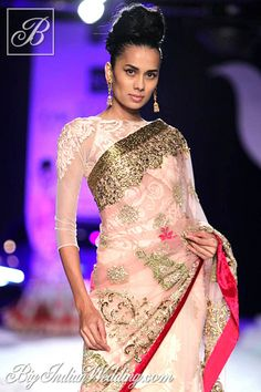 Varun Bahl designer saree with net blouse
