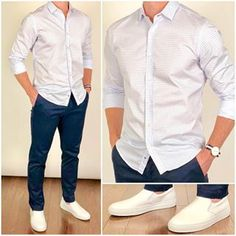 Happy Sunday everyone❗️ I'm starting a weeklong beach vacation today, so I'll be sharing pics in my story through the week. I'll try to post a few beach vacation outfits later in the week. Stylish Mens Outfits, Casual Outfits, Classy Casual, Men Casual, Smart Casual, White Slip On Sneakers, White Shoes, Mode Man, Formal Men Outfit