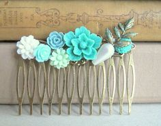 Teal Wedding Hair Comb Turquoise Bridal Hair Piece by Jewelsalem, $15.00
