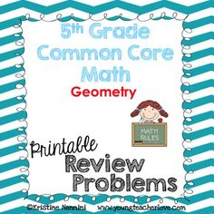 5th Grade Math Review or Homework Problems - #GeometryTestPrep - Work on word problems, coordinate graphs, calculations and operation problems, and more to cover geometric concepts with your fifth graders. These work great for morning work, seat work, tests, quizzes, homework, spiral review, test prep, games, exit slips, assessments, and more! Use as 4th grade enrichment or for 6th grade review. #YoungTeacherLove #5thGrade