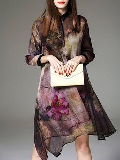 Shop Midi Dresses - Multicolor Silk 3/4 Sleeve Shirt Collar Two Piece Midi Dress online. Discover unique designers fashion at StyleWe.com.
