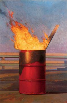 Bo Bartlett - Fire, 1990 - Oil on Linen - 60 x 40