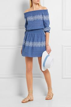 Tory Burch | Loretta off-the-shoulder embroidered woven cotton mini dress | NET-A-PORTER.COM