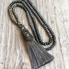 long bead gray necklace silver gray tassel necklace long