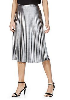 Only Metallic Pleated Midi Skirt - Silver Pleated Midi Skirt, Catwalk, Dresses For Work, Fashion Outfits, Clothes For Women, Skirts, Metallic, Queen, Skirt