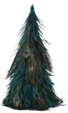 18 Inch Hackle-Peacock Eye and rooster Feather Tree Christmas Tree Feathers, Peacock Christmas Tree, Unique Christmas Trees, Christmas Tree Themes, Christmas Tree Toppers, Christmas Ornaments, Teal Christmas, Christmas Crafts, Merry Christmas