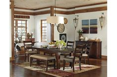 Dark Brown Hindell Park Dining Room Table View 4