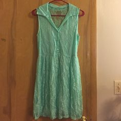 Mint lace sleeveless collared dress This dress is beautiful and in great condition! I'd love to keep it but I've never had a place to wear a sheer-backed dress. I bought it from someone else so I don't know the original price, I'm just putting what I paid. Tag says medium, but I normally wear larges and it fits me fine. Wet Seal Dresses