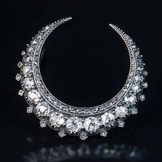 Antique Victorian Era Diamond Silver Gold Crescent Brooch Pin 3