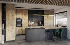 Bielsko - Biała - Duża otwarta kuchnia w kształcie litery u z wyspą, styl nowoczesny - zdjęcie od razoo-architekci