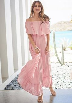 This pretty Pink Off the Shoulder Maxi dress is pulled straight from a dreamscape. Flowy styling is the key to this stunningly graceful look, with a gentle off-the-shoulder overlay and swingy, tiered skirt. Available in Plus Size Maxi Dress ( sizes 14 – Plus Size Maxi Dresses, Casual Dresses, Summer Dresses, Summer Outfit, Summer Fashions, Summer Clothes, Women's Dresses, Spring Outfits, Cruise Dress