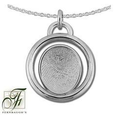Sterling Silver Circle, or 14K White Gold  - 14mm Fingerprint - (Sterling Silver includes chain, 14K White gold does not include chain) $229.99 Fingerprint Jewelry, Pocket Watch, White Gold, Pendant Necklace, Personalized Items, Sterling Silver, Chain, Daddy, Accessories