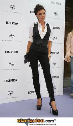 menswear inspired looks for women. necktie. women's fashion and style. victoria beckham
