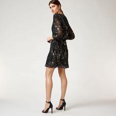 Warehouse, SPARKLE STAR DRESS Black Pattern 2