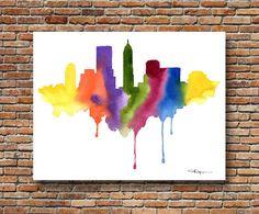 "Zurich Skyline Watercolor Painting 11/"" x 14/"" Art Print by Artist DJ Rogers"