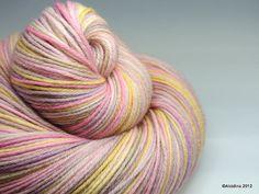 Handpainted yarn  Zerog Sock Orion Abstract 80/10/10 by Alcidina, $22.00