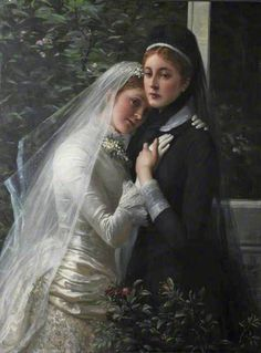 """Philip Richard Morris (British, """"Sisters"""", The Dick Institute, Kilmarnock (Scotland). One of the sisters is a bride, one is in mourning. Classic Paintings, Beautiful Paintings, Your Paintings, Victorian Paintings, Victorian Art, Victorian Portraits, Social Art, Art Graphique, Wedding Art"""