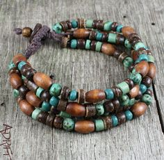 Mens Wood Beaded Bracelet Wrap  Natural by AdriftNaturalJewelry,