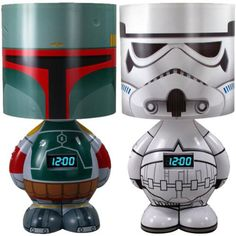 Boba lamp and Stormtrooper there is a Vader too. (alarm clock, and mp3 speaker)