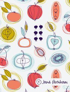 Fruit Pattern by Jane Farnham. Vegetable Illustration, Fruit Illustration, Pattern Illustration, Food Illustrations, Pattern Design Drawing, Surface Pattern Design, Pattern Art, Print Patterns, Vintage Pattern Design