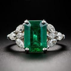 3.46 Carat Emerald and Diamond Estate Ring - Antique & Vintage Gemstone Rings - Vintage Jewelry