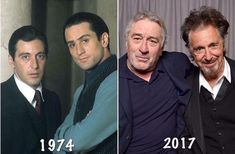 Two of my favorite actors ever. Seen - Some things never change Robert De Niro and Al Pacino behind the scenes of The Godfather Part II in 1974 and at the Tribeca Film Festival in 2017 Aren't they just gorgeous? Al Pacino, The Godfather Part Ii, Godfather Movie, Godfather Characters, Old Movies, Great Movies, Hollywood Stars, Classic Hollywood, Celebrities Then And Now