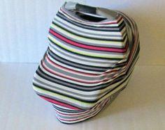 Multi Stripe Stretchy Car Seat Cover / Nursing Cover / Car Seat Canopy / Stretchy Carseat Cover /from GingerSunshine on Etsy. $21