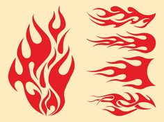 Hot Rod Flames Outlines | Flames Graphics Set