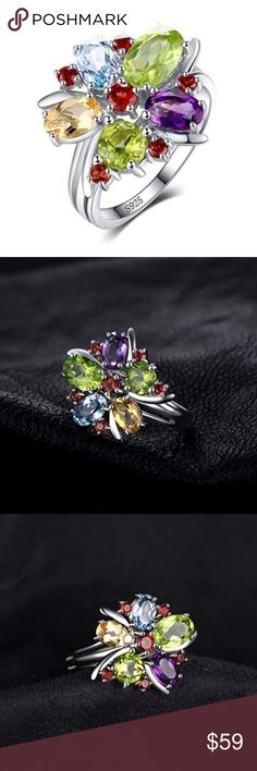 Practical Natural Amethyst Garnet Citrine & Aventurine Sterling 925 Silver Flower Ring 8 Fine Jewelry
