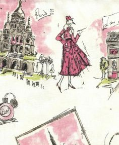 Very cute Paris toile fabric with black, pink and some green on an off white background. Pattern Tres Chic in color black-pink is made by Waverly and PK Lifestyles. Perfect curtain fabric or use on pillows or bedding in a little girls room.  Pinned from PinTo for iPad 