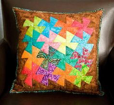 quilted pillows patterns   Whirligig Pillow by VeronicaMade   Quilting Ideas I have this pattern and the ruler set in all sizes It's called Twister and it is really fun!