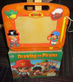 DRAWING WITH PIRATES BOARD BOOK WITH MAGNETIC DRAWING PAD, GREAT READ, FUN, GUC