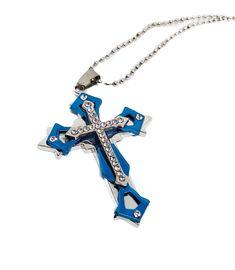 Ένας ιδιαίτερος και μεγάλος ανδρικός σταυρός σε ασημί με μπλε απόχρωση και έναν μικρότερο σταυρό από zircon στο κέντρο. Ο σταυρός διατίθεται τόσο με ατσάλινη αλυσίδα μπίλιες 60cm περίπου όσο και με δερμάτινο μαύρο κορδόνι 48cm. Διαστάσεις σταυρού: 7x4.5cm περίπου. Arrow Necklace, Bracelets, Jewelry, Jewlery, Jewerly, Schmuck, Jewels, Jewelery, Bracelet
