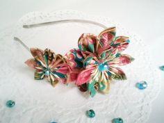 Serretête avec fleurs en tissu japonais par KIFFetWAK sur Etsy,