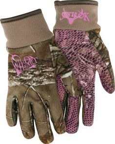 The pull-on cuffs with spandex trim on the Scent-Lok Women's Wild Heart Gloves provide a snug fit, so your hands are precise even with your gloves on. Tacky palms provide a secure grip.