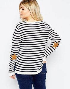 ASOS Curve | ASOS CURVE Stripe Jumper With Star Elbow Patch at ASOS