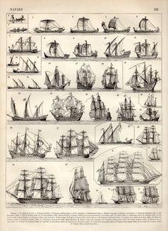 Old Ships, Antique Print, 1897 Vintage Lithograph, Sailboat Poster, Boats Print, Sailing Vessels, Historical Ship Types, Caravel, Frigate
