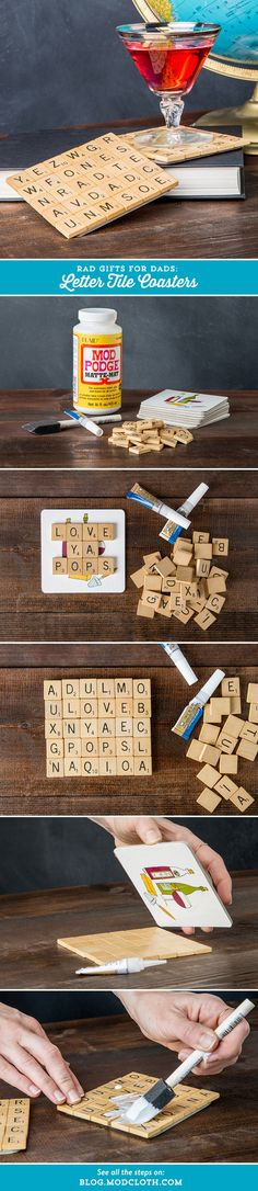 Give your dad something handmade this Father's Day: A DIY coffee sleeve and letter tile coasters! Diy Arts And Crafts, Cute Crafts, Crafts For Kids, Diy Coasters, Scrabble Coasters, Craft Gifts, Diy Gifts, Scrabble Art, Crafty Craft