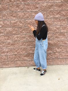 @joana_rilo// me in my rose patched vans and hand-me-down overalls. Including a black long sleeved turtle neck and a pair of hoops. Ft. lilac purple Champion beanie