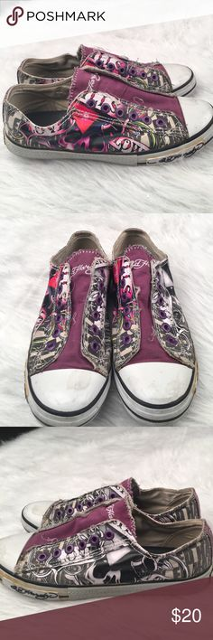 Ed Hardy Converse-style sneakers Love Kills Slowly Ed Hardy Converse-style sneakers Love Kills Slowly theme. Good condition but do show some glue discoloration. Please see pics. Ed Hardy Shoes Sneakers