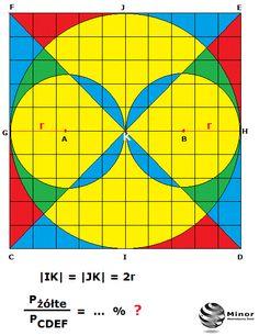 Pole obszaru zaznaczonego kolorem żółtym w podanym kwadracie CDEF stanowi:  A.  około 51,15 % pola kwadratu CDEF  B.  około 59,25 % pola kwadratu CDEF  C.  około 71,75 % pola kwadratu CDEF  D.  około 75,00 % pola kwadratu CDEF  E. około (Twoja propozycja)?