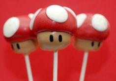 Mushroom Mario Cake Pops