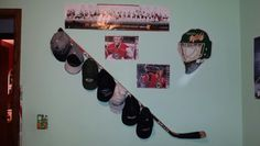 Hockey stick hat rack